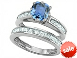 Original Star K™ Cushion Cut 7mm Simulated Aquamarine Engagement Wedding Set style: 307117