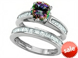 Original Star K™ Cushion Cut 7mm Rainbow Mystic Topaz Engagement Wedding Set style: 307119
