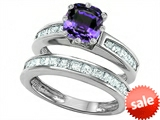 Original Star K™ Cushion Cut 7mm Simulated Alexandrite Engagement Wedding Set