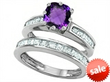 Original Star K™ Cushion Cut 7mm Genuine Amethyst Engagement Wedding Set