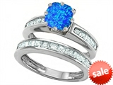 Original Star K™ Cushion Cut 7mm Simulated Blue Opal Engagement Wedding Set style: 307122