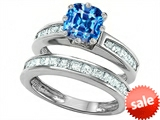 Original Star K™ Cushion Cut 7mm Genuine Blue Topaz Engagement Wedding Set
