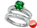 Original Star K™ Cushion Cut 7mm Simulated Emerald Engagement Wedding Set