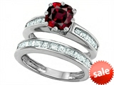 Original Star K™ Cushion Cut 7mm Genuine Garnet Engagement Wedding Set