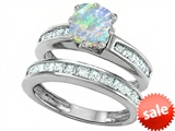 Original Star K™ Cushion Cut 7mm Simulated Opal Engagement Wedding Set style: 307126