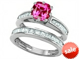 Original Star K™ Cushion Cut 7mm Created Pink Sapphire Engagement Wedding Set