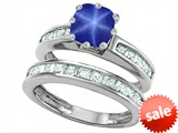 Original Star K™ Cushion Cut 7mm Created Star Sapphire Engagement Wedding Set style: 307128