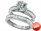 Original Star K™ Cushion Cut 7mm Genuine White Topaz Engagement Wedding Set