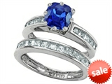 Original Star K™ Cushion Cut 7mm Created Sapphire Engagement Wedding Set style: 307130