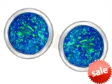 Original Star K™ 7mm Round Created Blue Opal Earrings Studs style: 307133