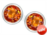 Original Star K™ 7mm Round Simulated Orange Mexican Fire Opal Earrings Studs style: 307136