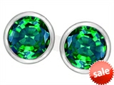 Original Star K™ 7mm Round Simulated Emerald Earrings Studs style: 307139