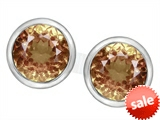 Original Star K™ 7mm Round Simulated Imperial Yellow Topaz Earring Studs