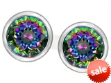 Original Star K™ 7mm Round Rainbow Mystic Topaz Earrings Studs style: 307147