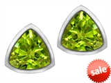 Original Star K™ 7mm Trillion Cut Simulated Peridot Earring Studs
