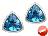 Original Star K™ 7mm Trillion Cut Simulated Blue Topaz Earring Studs