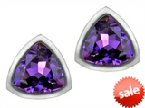 Original Star K™ 7mm Trillion Cut Simulated Amethyst Earrings Studs style: 307158