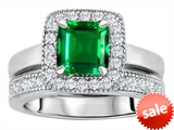 Original Star K™ 6mm Square Cut Simulated Emerald Engagement Wedding Set style: 307159