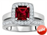 Original Star K™ 6mm Square Cut Created Ruby Engagement Wedding Set style: 307160
