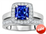 Original Star K™ 6mm Square Cut Created Sapphire Engagement Wedding Set style: 307161