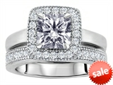 Original Star K™ 6mm Square Cut Genuine White Topaz Engagement Wedding Set style: 307162