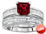 Original Star K™ 6mm Square Cut Created Ruby Engagement Wedding Set style: 307164