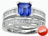 Original Star K™ 6mm Square Cut Created Sapphire Engagement Wedding Set style: 307165