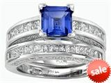 Original Star K™ 6mm Square Cut Created Sapphire Engagement Wedding Set style: 307165