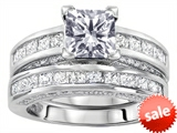 Original Star K™ 6mm Square Cut Genuine White Topaz Engagement Wedding Set