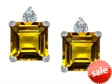 Original Star K™ 7mm Square Cut Genuine Citrine Earring Studs
