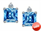 Original Star K™ 7mm Square Cut Genuine Blue Topaz Earring Studs