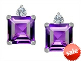 Original Star K™ 7mm Square Cut Genuine Amethyst Earrings Studs style: 307171