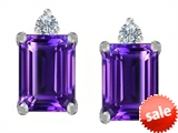 Original Star K™ 8x6mm Emerald Octagon Cut Genuine Amethyst Earring Studs