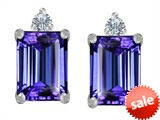 Original Star K™ 8x6mm Emerald Octagon Cut Simulated Tanzanite Earrings Studs style: 307178