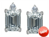 Original Star K™ 8x6mm Emerald Octagon Cut Genuine White Topaz Earring Studs