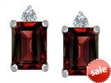 Original Star K™ 8x6mm Emerald Octagon Cut Simulated Garnet Earring Studs