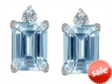 Original Star K™ 8x6mm Emerald Octagon Cut Simulated Aquamarine Earring Studs