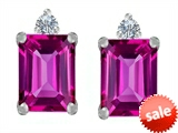 Original Star K™ 8x6mm Emerald Octagon Cut Created Pink Sapphire Earring Studs