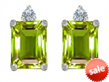 Original Star K™ 8x6mm Emerald Octagon Cut Simulated Peridot Earring Studs