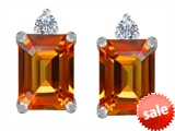 Original Star K™ 8x6mm Emerald Octagon Cut Simulated Orange Mexican Fire Opal Earrings Studs style: 307188