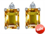 Original Star K™ 8x6mm Emerald Octagon Cut Genuine Citrine Earring Studs