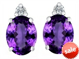 Original Star K™ 8x6mm Oval Genuine Amethyst Earrings Studs style: 307193