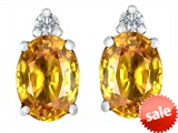 Original Star K™ 8x6mm Oval Genuine Citrine Earrings Studs style: 307195