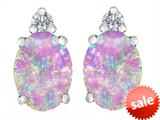 Original Star K™ 8x6mm Oval Created Pink Opal Earrings Studs style: 307202