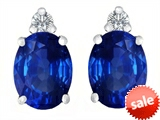 Original Star K™ 8x6mm Oval Created Sapphire Earrings Studs style: 307205