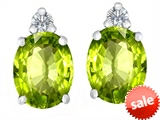 Original Star K™ 8x6mm Oval Genuine Peridot Earrings Studs style: 307208