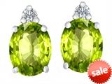 Original Star K™ 8x6mm Oval Genuine Peridot Earrings Studs style: 307208