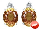 Original Star K™ 8x6mm Oval Simulated Imperial Yellow Topaz Earrings Studs style: 307212