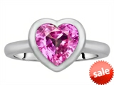 Original Star K™ 8mm Heart Shape Solitaire Engagement Ring With Created Pink Sapphire
