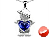 Original Star K™ Boy Holding 8mm Mother Heart September Birthstone Pendant with Created Sapphire